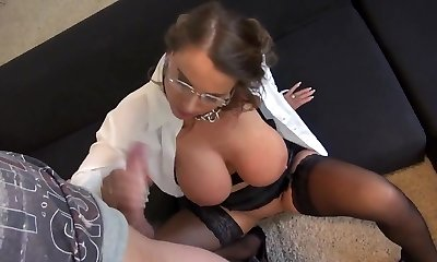 Jaw-dropping Susi  German Mommy Big Tits Secretary Anal Stockings