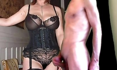 cuckold jizm for mature huge-boobed wife in stockings