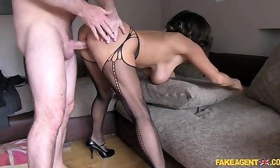 Kinky pornstar in Horny Stockings, Casting bang-out movie
