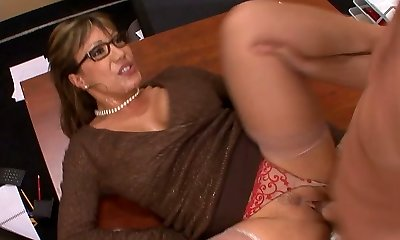 Naughty mature teacher gets her slit licked and banged on the table