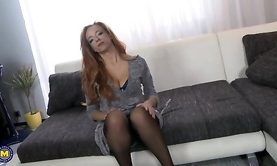 Ginger mother with enormous tits fucked by son