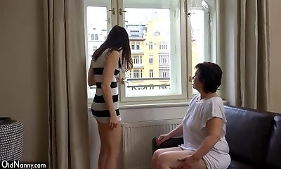 OldNanny Sexy girl masturbate hairy grandma poon
