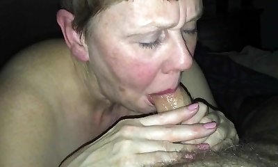 Useless beth H inhales her Master's cock and drinks