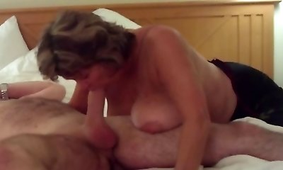 Huge-titted Mature Swallows All of Meaty Young Cock
