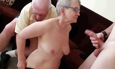 Elderly spouse fucked with young man