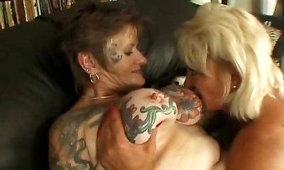 Tattooed all girl granny fucked
