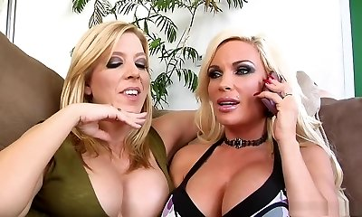 Crazy sex industry stars Gina Lynn and Lexi Lamour in best facial cumshot, blonde porn movie