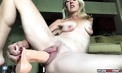 Hairy Cooch Gets Fucked Moist By A Dildo