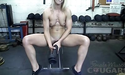 Muscular Mature Claire Fucks Gigantic Faux-cock In The Gym