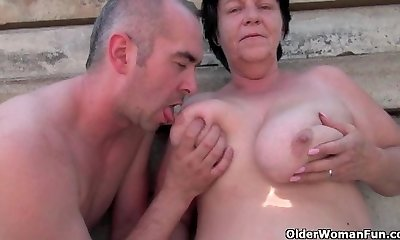 Ugly grandma with 1 inch puffies drilled outdoors