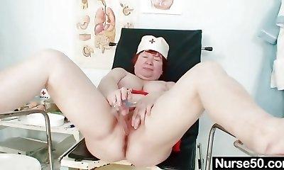 Ugly redhead mom toys her hairy fuckbox