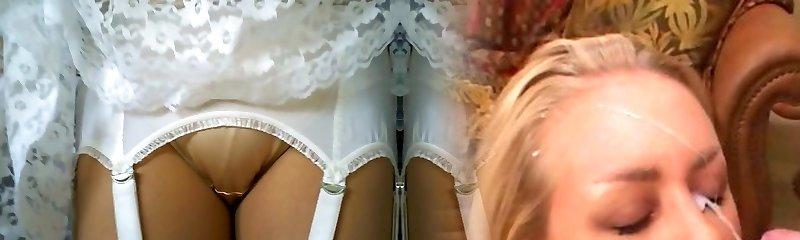 Retro lace slip with tan nylon tights
