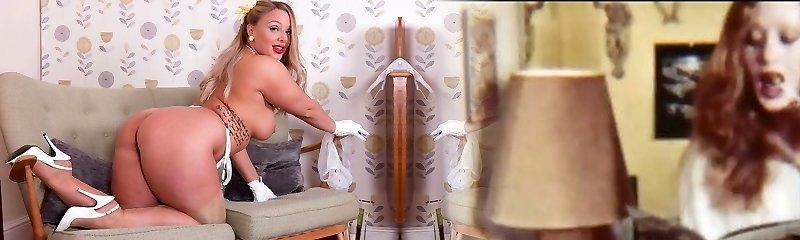 Big tits blonde strips in retro underwear wanks in high high-heeled slippers