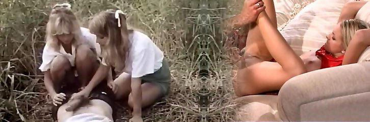 Classic porn in the forest with two chicks
