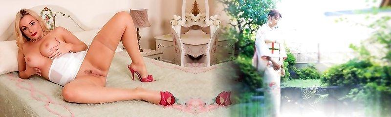 Buxomy babe teases in retro lingerie high stilettos vintage nylon