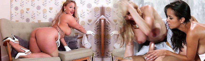 Hefty tits towheaded strips in retro lingerie wanks in high heels