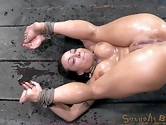 We've got Mahina Zaltana strapped down into the flawless pile driver position. Her gash is folded up into her face and she has a superb look of what is to come. Even finer, the custom-made gag we've used on her holds her mouth wide open to catch it all as she pumps out like a blast. Spunking makes her sensitive and wet and we can't just gaze at a vagina this well-prepped without fucking it.