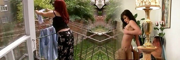 mujer suntuosa y madura atacada mientras suspendía la colada-cireman