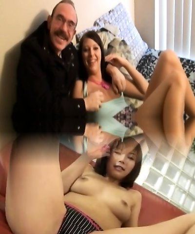 Young retro beauty jizzed by messy senior guy