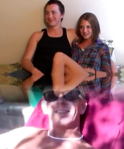 Retro teen couple trio with old pervert Point Of View