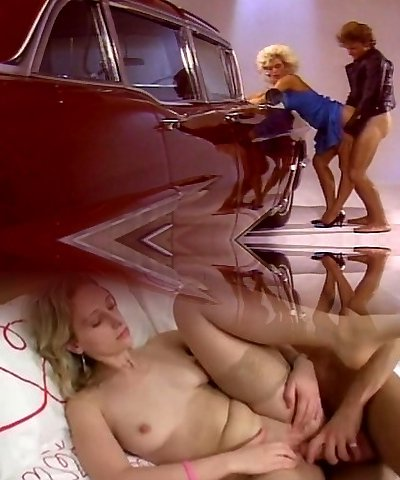 Blonde female drilling good by the car
