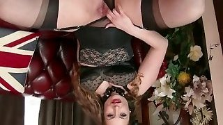 Natural giant tits brown-haired Sophia Delane strips to nylons heels and drains