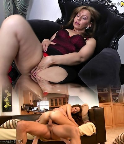 Sloppy housewife MOM getting wet by her dildo
