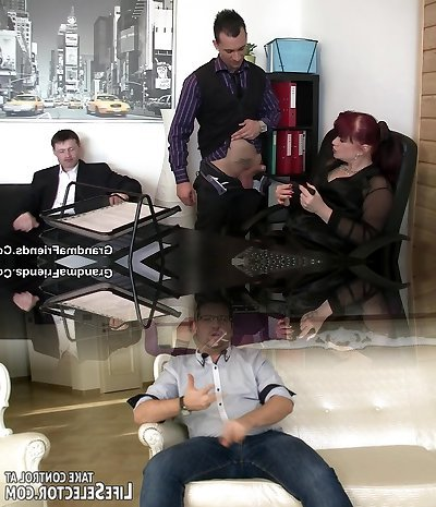 Two dudes screws hot office mommy