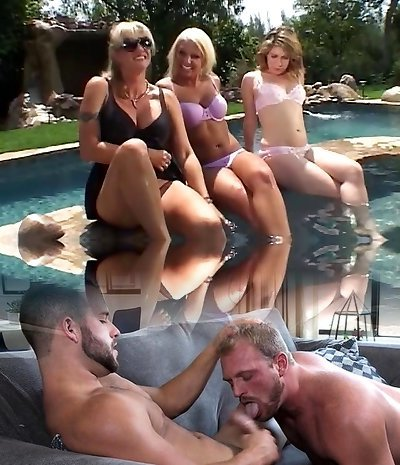 Brunette tongues a juicy blond cunt by the pool