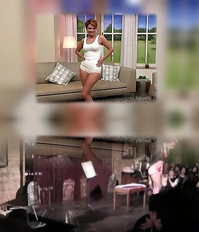 Mature model cameltoe on TV store. Underwear
