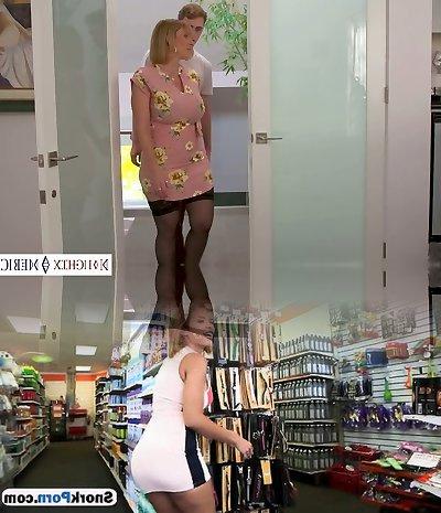 Bosomy auburn sexpot in ebony stockings Sara Jay is hammered rear end