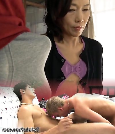 Japanese mom making son experience sex