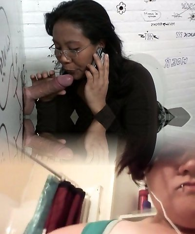 Dirty Asian mom gives a head to stress schlong sticking out of glory hole