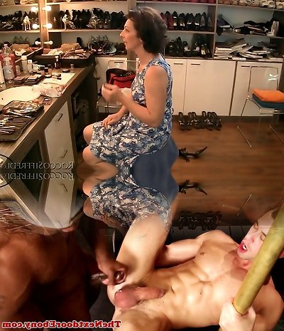 Brown-haired granny is poked upskirt from behind in Point Of View