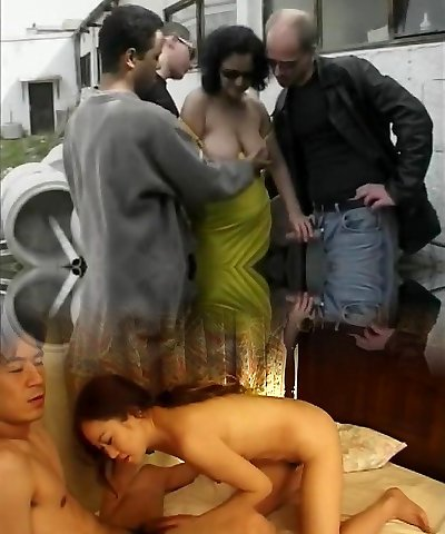 German mature fuckslut enjoys outdoor gangbang