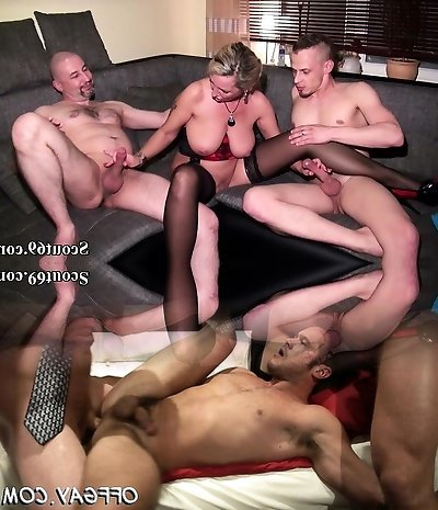 Daddy and Step Stepson Plumb German MILF in hard Threesome