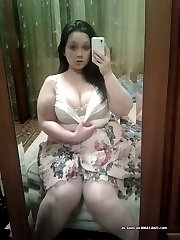 Gorgeous naughty plumper strips naked
