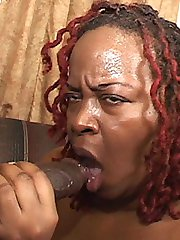 Lusty ebony BBW gets her twat and mouth filled with cock