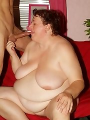 Explicit scene with a jaw-dropping mature plumper named Agnes Eva seducing a younger boy