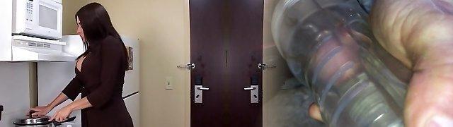 Curvy brunette MILF takes black trouser snake and facial in motel room