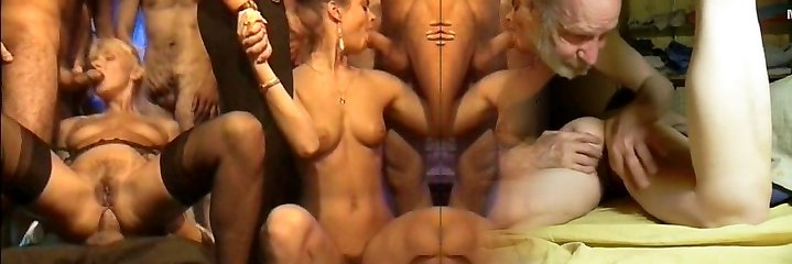 Old retro pornography with great orgy