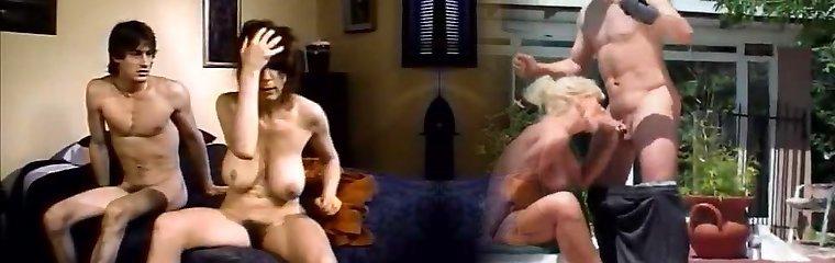 Mega busty brunette MILF deep throated hard dick of her stepson