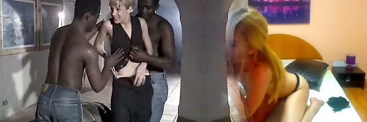 White whore wife Rebeca gives eager blowjob to a duo of monstrous black dudes