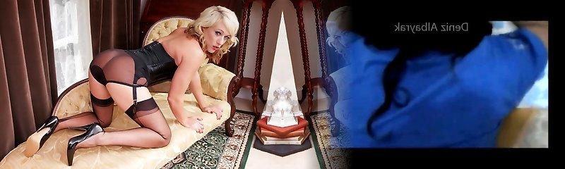 Blonde in vintage wear sheer nylon panties wanking wet pussy