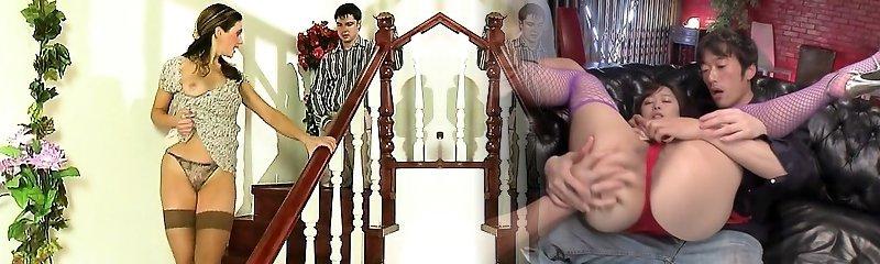 Gonzo Brunette Teen In Stockings