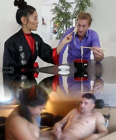 Hot Asian masseuse Katana teases strong stiffy in the kinkiest way possible