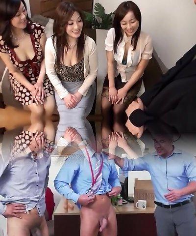 Asian AV Models hot mature chicks in CFNM group action