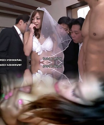 Future Asian bride Mirei Oomori blows the knobs of her groom's pals