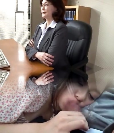 Japanese school director drains in the office