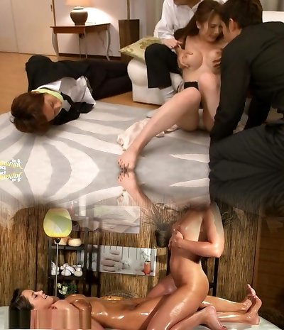 Naughty Milf Yui Azusa´s Assets Pulverized By Two Guys